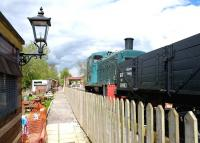 BR class 03 no D2022 is yard shunter at Hayes Knoll during the Swindon and Cricklade Railway's Industrial Locomotive Gala day on 1 May. <br><br>[Peter Todd&nbsp;01/05/2010]