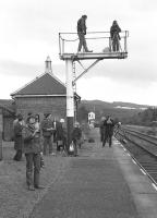 A sense of anticipation at Boat of Garten on 7 April 1973 with enthusiasts awaiting the imminent arrival of the down DMU special from Perth [see image 28779].<br><br>[John McIntyre&nbsp;07/04/1973]