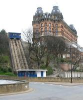 The closed St Nicholas Cliff Lift at Scarborough, standing at the opposite (south) end of The Grand Hotel from the Central Tramway on Foreshore Road and seen here in March 2010. Originally opened in 1929 by the Medway Safety Lift Company, closure of the St Nicholas Lift was announced by Scarborough Council in 2006 as part of a cost cutting exercise. A preservation group has since been formed and there are long term plans to restore operations here.  <br> <br><br>[John Furnevel&nbsp;22/03/2010]
