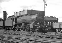 B1 4-6-0 no 61242 <I>Alexander Reith Gray</I> stands on Dalry Road shed in August 1964, a month after its official withdrawal by BR. After spending a short period in store at Bathgate [see image 45023] the locomotive was eventually cut up at Darlington Works in November of that year.<br><br>[K A Gray&nbsp;29/08/1964]