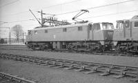BR AC Electric Class AL5 no E3059 stands alongside class AL1 no E3009 on Allerton shed, Liverpool, in April 1962. View is north west from the end of the locomotive depot sidings. <br><br>[K A Gray&nbsp;15/04/1962]