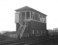 The abandoned signal box at Polkemmet Junction in February 1970. [See image 28977]<br><br>[Bill Jamieson&nbsp;/02/1970]