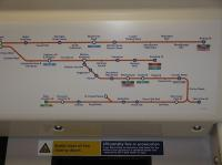 This is a view of the route map inside a train on the new portion of the East London Line.<br><br>[John Thorn&nbsp;10/05/2010]