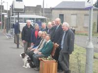 The Friends of Bridge of Allan led by Elizabeth Rankin and Gavin Drummond are seen enjoying the first of their splendid new station seats.<br><br>[John Yellowlees 13/05/2010]