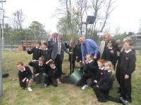 To celebrate the 25th anniversary of the re-opening of Bridge of Allan station there was a tree-planting by Beaconhurst School in the presence of Dr Richard Simpson MSP, Rt Hon George Reid, the Friends of Bridge of Allan and Bridge of Allan Primary School.<br><br>[John Yellowlees 13/05/2010]