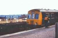 Another photograph showing the DMU special at Boat of Garten on 7 April 1973. Note that it is now displaying <I>Edinburgh</I> on the destination blind, which is where its journey actually started that day.<br><br>[John McIntyre&nbsp;07/04/1973]