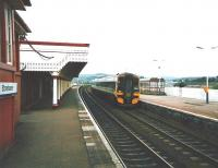 158 706 arrives at Stonehaven on an Aberdeen service in July 1998.<br><br>[David Panton&nbsp;/07/1998]