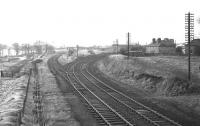 Looking south-west from the then recently closed Polkemmet Junction signal box in February 1970, with the Morningside line diverging to the left.<br><br>[Bill Jamieson&nbsp;/02/1970]