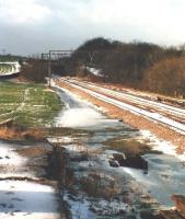 End of the line. Looking towards Manchester along the remaining section of former Woodhead route in February 1988 some 500m beyond Penistone Station.<br><br>[David Pesterfield&nbsp;10/02/1988]