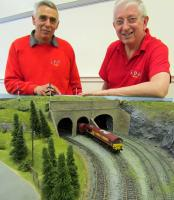 Roy Garrett and Tom Rout, from Kyle Model Railway Club, with one of<br> their new layouts at Irvine station. [See news item]<br><br>[First ScotRail&nbsp;16/04/2012]