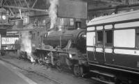 Platform 3 of Edinburgh's Princes Street station plays host to BR Standard 2-6-0 no 78046 and <I>Scottish Rambler No 4</I> on 19 April 1965, following a trip over the Balerno branch.<br><br>[K A Gray&nbsp;19/04/1965]