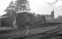 A neglected looking BR Standard class 4 2-6-4T no 80118 is about to leave Moffat on 29 March 1964 and head back along the branch to Beattock with the six coaches of the SLS 'Scottish Rambler No 3' Railtour.<br><br>[K A Gray&nbsp;29/03/1964]