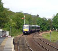 The 08.33 Edinburgh to Inverness departs Pitlochry at 10.24 (5 minutes late) on 20 May past the starter at danger. Signal technicians were working at the open box and the signalman had authorised the movement.<br><br>[Colin Miller&nbsp;20/05/2010]