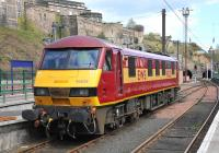 Pictured stabled in the locomotive bay at the east end of Waverley station on 21 April 2010 is 'sleeper' regular 90029 <I>The Institution of Civil Engineers</I>.<br><br>[Andy Carr&nbsp;21/04/2010]
