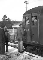 A passenger chats with the driver and the secondman (remember them?) while the final westbound Speyside passenger special pauses at Knockando en route from Aberdeen to Aviemore on Saturday 2nd November 1968. <br><br>[David Spaven&nbsp;02/11/1968]