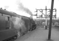 A BR Standard class 5 about to take a train out of Buchanan Street in the 1960s.<br><br>[K A Gray&nbsp;//]