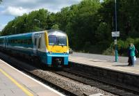 Arriva Trains 175101 southbound ex-Manchester Piccadilly arriving at Abergavenny on 27 May 2010, final destination Milford Haven.<br> <br><br>[Peter Todd&nbsp;27/05/2010]