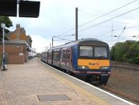 The almost disturbing (but welcome) site of a ScotRail unit at Dunbar, in this case 322481 with the 1504 to Edinburgh on 28 May.  ScotRail trains have not served Dunbar since 1990, when the twice-daily local service was withdrawn due to a shortage of DMUs [see image 24208]. With the new timetable this week two weekday services make a return trip: one mid-morning, one mid-afternoon.  This leaves Lockerbie as the only Scottish station not served by ScotRail.<br><br>[David Panton&nbsp;28/05/2010]