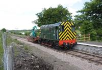 Ex-BR class 08 shunter no D4157 on sleeper recovery duty, photographed at Blaenavon High Level station on the Pontypool & Blaenavon Railway on 27 May 2010.<br> <br><br>[Peter Todd&nbsp;27/05/2010]