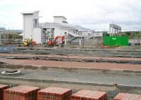 View of the new Bathgate station looking south from Edinburgh Road on 30 May 2010. In addition to the station itself there has been significant recent progress on access roads and car parking.<br><br>[John Furnevel&nbsp;30/05/2010]