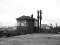 Bathgate Central signal box seen from the northeast in February 1970. Bathgate Upper station stands in the background, having closed to passengers in January 1956.  <br> <br><br>[Bill Jamieson&nbsp;/02/1970]