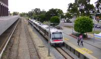 An outbound TransPerth emu leaving the suburban side of East Perth station WA on the narrow gauge line in September 2008. The tracks and platform to the left are standard gauge and are used by the 'Indian Pacific' services from Sydney which terminate here.<br> <br><br>[Colin Miller&nbsp;20/09/2008]
