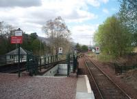 Looking north from the end of the platform at Bridge of Orchy towards Rannoch. The subway entrance to the island platform that is typical of West Highland stations can be seen along with surviving buildings in the station yard to the left. <br><br>[Mark Bartlett&nbsp;18/05/2010]
