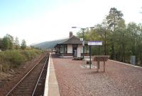 Looking south towards County March Summit and Tyndrum along the island platform and past the surviving station buildings at Bridge of Orchy.<br><br>[Mark Bartlett&nbsp;18/05/2010]