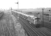 Class 26 no D5311�takes the line towards Millerhill at Niddrie West Junction in February 1970 with the 11.40 cement empties from Irvine to Oxwellmains.<br><br>[Bill Jamieson&nbsp;04/02/1970]