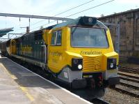 Freightliner 70 002 waits at Carlisle platform 1 on 3 June with northbound coal empties.<br><br>[Colin Miller&nbsp;03/06/2010]