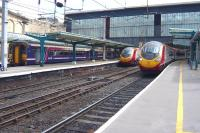 The north end of Carlisle station on 3 June with 156492 having just arrived at platform 7 from Glasgow Central via Dumfries and Pendolinos for Euston and Glasgow Central standing at platforms 4 and 3 respectively.<br> <br><br>[Colin Miller&nbsp;03/06/2010]