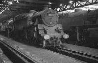 BR Standard Class 4 2-6-4T no 80114 stands in the gloom of St Margarets shed in September 1966. The locomotive was withdrawn from here at the end of that year, age 12, and broken up at Shipbuilding Industries, Faslane, 4 months later.<br><br>[K A Gray&nbsp;04/09/1966]