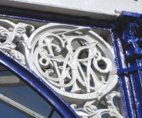 Every one of the canopy supports at Kilmarnock bears a roundel <br> with a highly ornate 'G&SWRCo' worked into it.� Photographed on 3 June 2010.<br> <br><br>[David Panton&nbsp;03/06/2010]