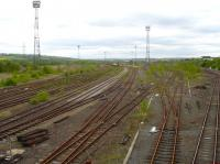 Part of the desolation that was once the bustling Healey Mills Yard. View west towards the diesel depot and admin building on 14 May 2010.<br><br>[David Pesterfield&nbsp;14/05/2010]