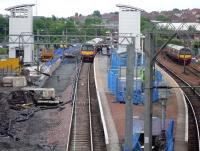 Progress at Airdrie - view east over the station on 9 June 2010.<br><br>[John Steven&nbsp;09/06/2010]