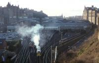 Deltic no 55 022 <I>Royal Scots Grey</I> preparing to take <I>The Deltic Deliverance</I> railtour from Waverley to Kings Cross on 30 November 1996.<br><br>[David Spaven&nbsp;30/11/1996]