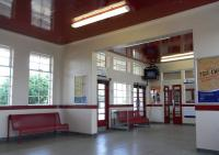 The immaculate interior of the waiting room at Girvan, Scotland's only art deco station, seen on 3 June.� Even the ceiling is glossy.� The more modern seating is unfortunately not sympathetic, though probably more comfortable than the wooden benches it no doubt replaced.<br><br>[David Panton&nbsp;03/06/2010]
