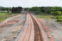 Looking East towards Bathgate on 11 June 2010 with the down line now in place.<br><br>[James Young&nbsp;11/06/2010]