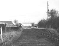 The remains of Bathgate (Lower) station, looking northwest towards the level crossing in February 1970, forty years after the station had closed to passengers. [See image 29356]<br> <br><br>[Bill Jamieson&nbsp;/02/1970]