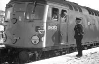 The Grantown-on-Spey East signalman exchanges some final thoughts with the driver and secondman of the last westbound Speyside train during a photo stop on Saturday 2nd November 1968. The signalman was subsequently redeployed to Carrbridge, where he was a familiar face until the Inverness-Aviemore resignalling in the late 1970s which eliminated the boxes at Carrbridge, Tomatin and Culloden Moor - and introduced new loops at Kincraig, Slochd and Moy.<br> <br><br>[David Spaven&nbsp;02/11/1968]