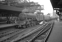 An unidentified A3 Pacific eases into Newcastle Central in the late 50s/early 60s with a train from Edinburgh.<br><br>[K A Gray&nbsp;//]