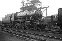 Austerity 2-8-0 no 90075 stands on Darlington shed following a visit to the works in October 1963. The locomotive carries a 40B Immingham shed plate.<br> <br><br>[K A Gray&nbsp;26/10/1963]