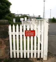 <I>Not exceeding forty shillings</I> seems a long time ago... sign on a fence alongside Seafield level crossing on 6 June 2010. <br><br>[John Furnevel&nbsp;06/06/2010]