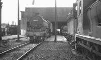 View west at Bathgate MPD in March 1966, with B1 no 61307 and J36 no 65319 amongst the locomotives on shed. Bathgate Central signal box stands in the left background. <br><br>[K A Gray&nbsp;05/03/1966]