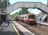Eastbound at Bishopbriggs on 15 June - 170 470 pulls in with a Dunblane service.<br><br>[David Panton&nbsp;15/06/2010]