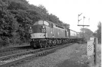 A northbound train speeds past Eamont Bridge Junction on the West Coast Main Line in September 1967 hauled by an EE Type 4 locomotive . <br><br>[Colin Miller&nbsp;25/09/1967]