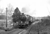 The RCTS <I>North Eastern No 2 Rail Tour</I> of 10 April 1965 passing Eastgate station on the Wearhead branch. The locomotive is no 3442 <I>The Great Marquess</I>, which had brought the special from Leeds City. The train is on its way to St John's Chapel. <br> <br><br>[K A Gray&nbsp;10/04/1965]