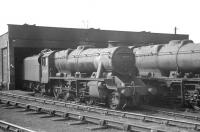 Stanier 8F 2-8-0 no 48500 stands on shed at Widnes on 15 April 1962. <br><br>[K A Gray&nbsp;15/04/1962]