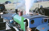 <I>Twizell</I>, a Robert Stephenson & Co 0-6-0T built in 1891, in operation as a stationary boiler at Beamish in April 1979. [See image 29518]<br><br>[Peter Todd&nbsp;13/04/1979]