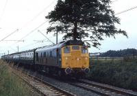 The 1225 from Oban to Glasgow Queen Street approaches Cardross on 07 August 1971 behind Class 25 no 5178.<br> <br><br>[John McIntyre&nbsp;07/08/1971]